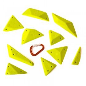 un mixe de 15 prises d'escalade aux formes geometrique